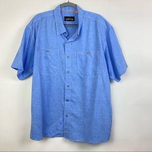 Orvis Short Sleeve Button Down Casual Shirt Blue